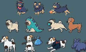 Set 2 von niedlichen Hunden vektor