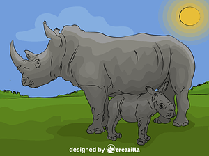 Rhino Baby with Mother vector