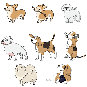 Set 1 of Cute Dogs vector