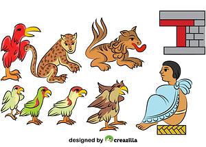 Aztec Depiction of Animals vector