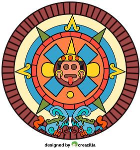 Aztec Sun Stone vector