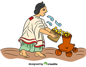 Aztec Woman Blowing on Maize vector
