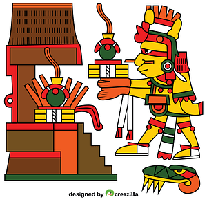 Xiuhtecuhtli Aztec God of Fire, Day and Heat vector
