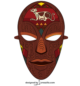 African Wooden Mask vector