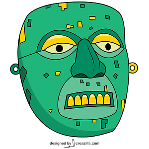 Aztec Mask of Xiuhtecuhtli vector
