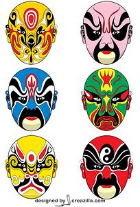 Chinese Opera Masks vector