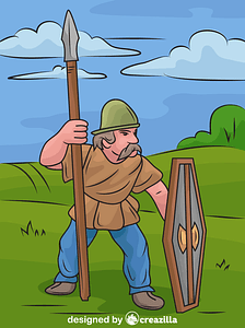 Celtic Warrior with Spear and Shield vector
