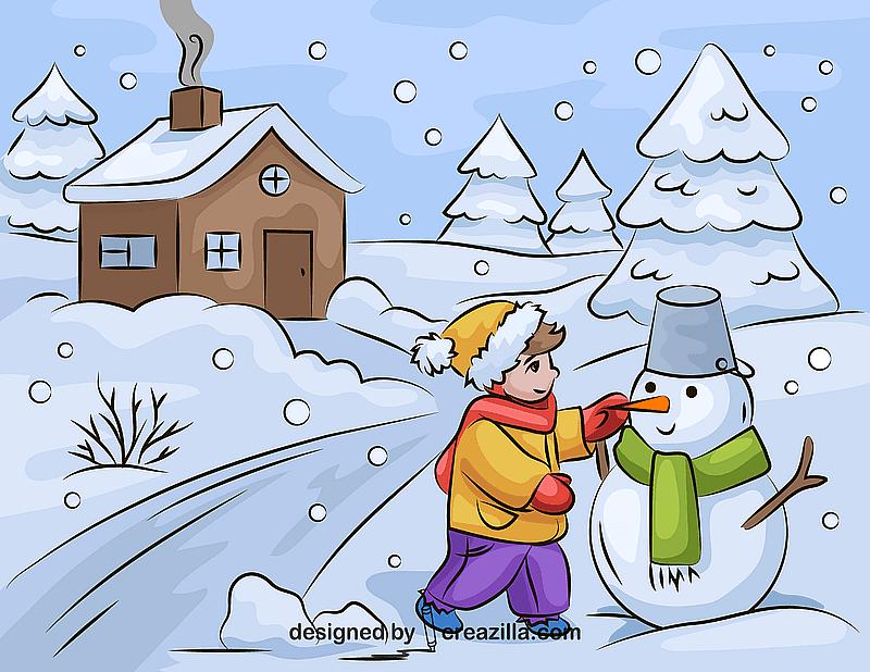 Boy Building a Snowman vector