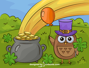 St. Patrick's Day with an Owl and Pot of Gold vector