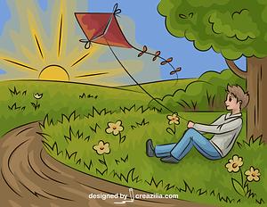 Boy with a Kite vector
