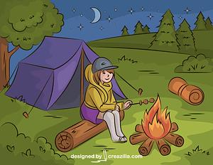 Camping Girl Roasting Marshmallow vector