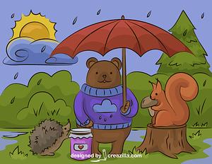 Immagine vettoriale di Animali della foresta sotto la pioggia
