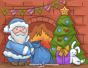 Santa Claus and the Christmas Tree vector
