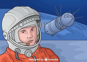 Yuri Gagarin and Vostok Spacecraft vector