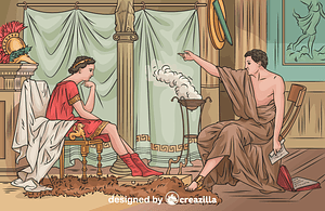 Aristotle and Alexander The Great vector