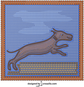 Roman Mosaic With a Hunting Scene vector