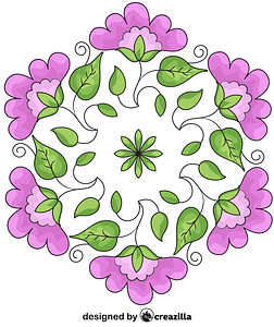 Floral round pattern vector