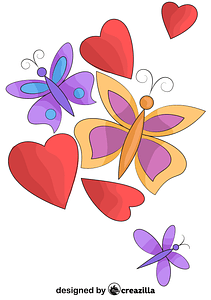 Hearts and Butterflies vector