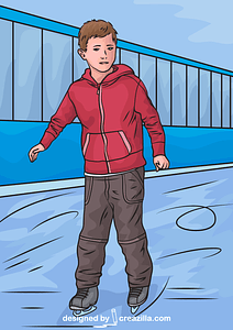 Boy Ice Skating vector