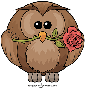 Owl With Rose vector
