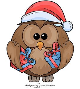 Xmas Owl with Presents vector
