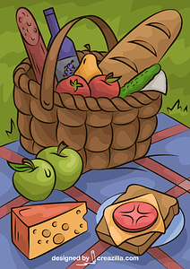 Picnic Basket Food vector