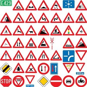 129 Road Signs of Belgium vector