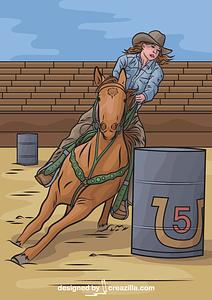 Horse Barrel Racing vector