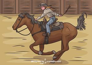 Cowgirl Riding Horse vector