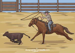 Calf Roping Rodeo vector