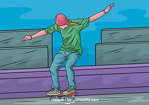 Man Riding a Skateboard vector
