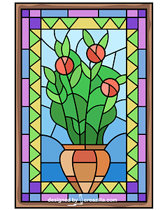 Flower Vase Stained Glass vector