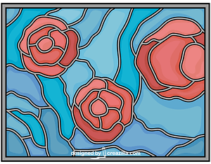 Stained Glass with Roses vector