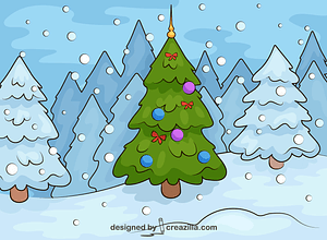 Christmas Tree in The Forest vector