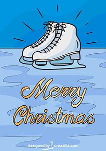Christmas Card With Skates vector
