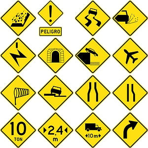 126 Road Signs of Chile vector