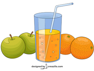 Fruits and Juice vector