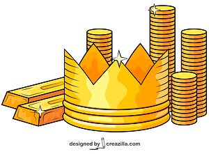 Gold Bars, Crown and Coins vector