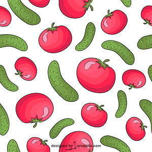 Tomatos and Cucumbers Pattern vector