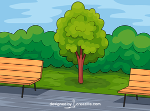 Tree and Benches vector