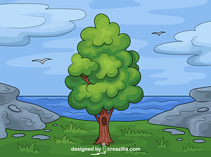Tree and Sea vector