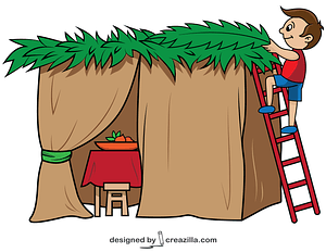 Boy Biulds a Sukkah for Sukkot vector