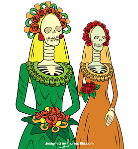 Day of the Dead Catrinas vector