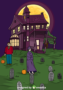 Haunted House and Graveyard vector