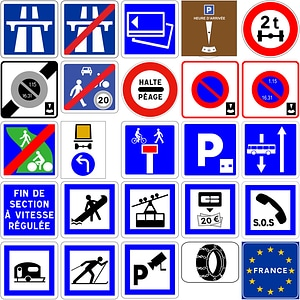 102 Road Signs of France vector