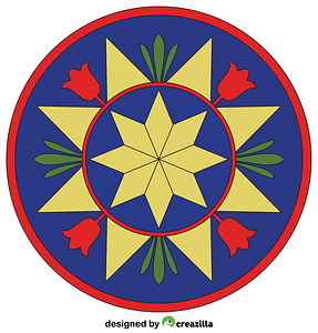 Pennsylvania Hex Sign with Compass Rose vector