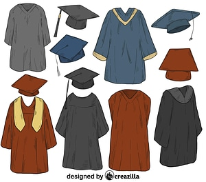 Set of cap and gown vector
