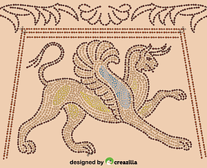 Ancient Greece Mosaic Depicting Griffin vector