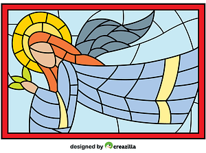 Christmas Stained Glass with Angel vector
