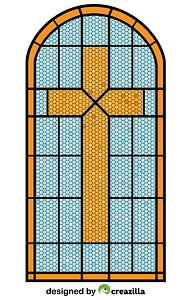 Cross Stained Glass Window vector